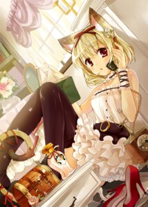 Rating: Safe Score: 40 Tags: animal_ears dress funifuni nekomimi tail thighhighs User: fairyren