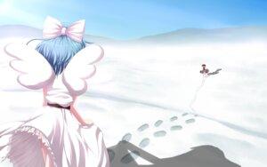 Rating: Safe Score: 7 Tags: dress mai_(touhou) mille see_through skirt_lift touhou wallpaper wings yuki_(touhou) User: charunetra
