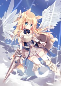 Rating: Safe Score: 50 Tags: animal_ears armor heels hoshi tail thighhighs weapon wings User: Mr_GT