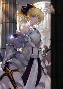 Rating: Safe Score: 30 Tags: armor dress fate/stay_night fate/unlimited_codes pudding_(artist) saber saber_lily sword User: mash