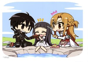 Rating: Safe Score: 25 Tags: asuna_(sword_art_online) chan×co chibi dress kirito sword sword_art_online thighhighs yui_(sword_art_online) User: drop
