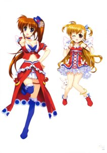 Rating: Questionable Score: 26 Tags: cleavage dress fujima_takuya mahou_shoujo_lyrical_nanoha mahou_shoujo_lyrical_nanoha_vivid sacred_heart takamachi_nanoha thighhighs vivio wings User: drop