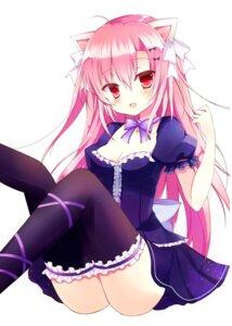 Rating: Safe Score: 39 Tags: animal_ears cleavage dress nekomimi nopan tagme thighhighs User: nphuongsun93