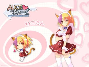 Rating: Safe Score: 11 Tags: alice_parade animal_ears chibi dress ito_noizi kimagure_neko nekomimi tail thighhighs unisonshift waitress wallpaper User: admin2