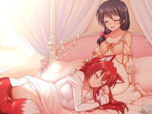 Rating: Questionable Score: 30 Tags: animal_ears kitsune konshin nopan pajama tail wallpaper User: blooregardo
