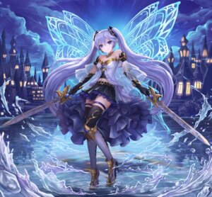 Rating: Safe Score: 86 Tags: armor cleavage hatsune_miku heels lunacle sword thighhighs vocaloid wet wings User: Mr_GT