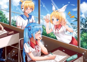 Rating: Safe Score: 33 Tags: douyacai hatsune_miku headphones kagamine_len kagamine_rin seifuku vocaloid User: Mr_GT
