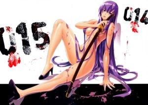 Rating: Questionable Score: 111 Tags: blood busujima_saeko heels highschool_of_the_dead inazuma naked sword User: Radioactive