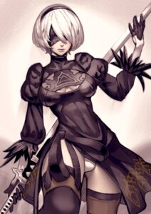 Rating: Safe Score: 13 Tags: cleavage dress nier_automata pantsu skirt_lift sword thighhighs thinker_0616 yorha_no.2_type_b User: Mr_GT