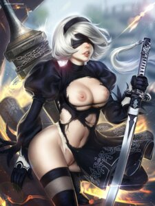 Rating: Explicit Score: 70 Tags: breasts dress nier_automata nipples no_bra nopan pussy sword tagme thighhighs torn_clothes uncensored yorha_no.2_type_b User: Mr_GT