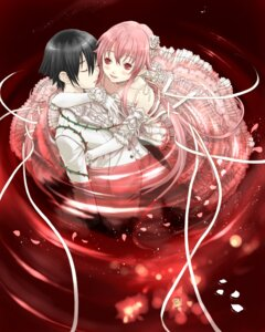 Rating: Safe Score: 16 Tags: amano_yukiteru dress gasai_yuno koutenbelg_no_youhei mirai_nikki wedding_dress User: Radioactive