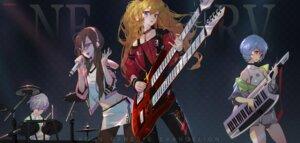 Rating: Safe Score: 8 Tags: ayanami_rei bandaid grandia_(artist) guitar makinami_mari_illustrious megane nagisa_kaworu neon_genesis_evangelion pantsu pantyhose souryuu_asuka_langley User: charunetra