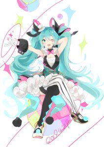 Rating: Safe Score: 19 Tags: hatsune_miku heels magical_mirai skirt_lift stuko thighhighs vocaloid User: Mr_GT