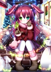 Rating: Safe Score: 29 Tags: animal_ears bunny_ears christmas heterochromia shitou stockings thighhighs User: 椎名深夏