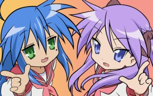 Rating: Safe Score: 16 Tags: hiiragi_kagami izumi_konata lucky_star seifuku vector_trace wallpaper User: jxh2154