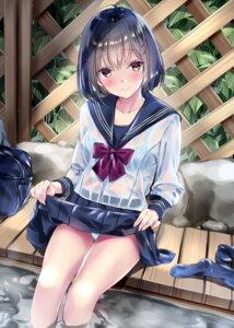 Rating: Questionable Score: 3 Tags: bra kobayashi_chisato pantsu see_through seifuku skirt_lift wet wet_clothes User: Dreista