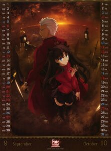 Rating: Safe Score: 38 Tags: archer armor calendar dress emiya_shirou fate/stay_night fate/stay_night_unlimited_blade_works saber sword thighhighs toosaka_rin User: drop