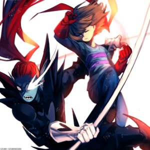 Rating: Safe Score: 10 Tags: frisk ozumii signed undertale undyne User: charunetra
