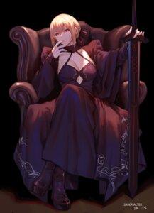 Rating: Questionable Score: 29 Tags: dress fate/grand_order jinlin no_bra saber saber_alter sword User: Mr_GT
