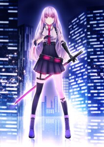 Rating: Safe Score: 41 Tags: kaen_(k-artworks) sword thighhighs User: Mr_GT