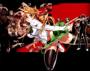 Rating: Questionable Score: 34 Tags: blood crease highschool_of_the_dead inazuma komuro_takashi miyamoto_rei pantsu seifuku thighhighs User: DLS84