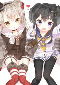 Rating: Safe Score: 59 Tags: amatsukaze_(kancolle) jimmy kantai_collection pantyhose seifuku stockings thighhighs tokitsukaze_(kancolle) User: yong