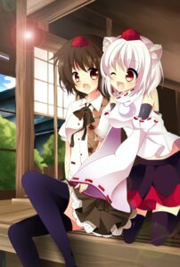 Rating: Safe Score: 15 Tags: animal_ears inubashiri_momiji shameimaru_aya thighhighs touhou yurichi User: Nekotsúh