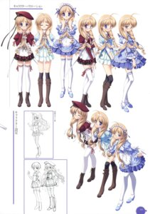 Rating: Safe Score: 9 Tags: 11eyes character_design hagiwara_onsen hirohara_yukiko megane seifuku thighhighs waitress User: crim