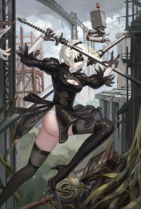 Rating: Questionable Score: 32 Tags: aaeru ass cleavage dress heels nier_automata pantsu sword thighhighs yorha_no.2_type_b User: charunetra