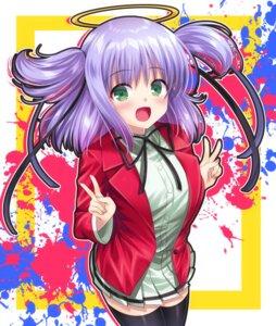 Rating: Safe Score: 4 Tags: angel bokusatsu_tenshi_dokuro-chan mitsukai_dokuro seifuku tagme thighhighs User: Spidey