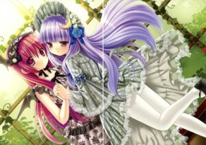 Rating: Safe Score: 17 Tags: dress gap kino kinokonomi koakuma lolita_fashion macchatei_koeda pantyhose patchouli_knowledge symmetrical_docking touhou User: fireattack