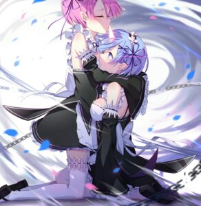 Rating: Safe Score: 59 Tags: horns maid pointy_ears ram_(re_zero) re_zero_kara_hajimeru_isekai_seikatsu rem_(re_zero) ring_(1079882045) stockings thighhighs User: Mr_GT