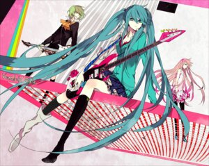 Rating: Safe Score: 45 Tags: dress guitar gumi hatsune_miku megurine_luka pantyhose suou vocaloid User: Amperrior