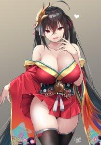 Rating: Questionable Score: 32 Tags: azur_lane breast_hold japanese_clothes no_bra oekakizuki open_shirt skirt_lift taihou_(azur_lane) thighhighs User: Mr_GT