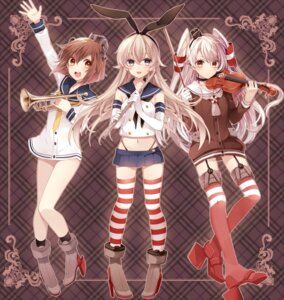 Rating: Safe Score: 51 Tags: amatsukaze_(kancolle) ichinose_yukino kantai_collection shimakaze_(kancolle) stockings thighhighs yukikaze_(kancolle) User: tbchyu001