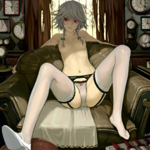 Rating: Questionable Score: 217 Tags: cameltoe g_scream garter_belt heels izayoi_sakuya pantsu stockings thighhighs topless touhou User: blooregardo