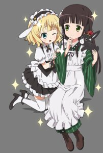 Rating: Safe Score: 20 Tags: gochuumon_wa_usagi_desu_ka? heels kirima_sharo maid tagme thighhighs transparent_png ujimatsu_chiya wa_maid waitress User: saemonnokami