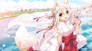 Rating: Safe Score: 43 Tags: animal_ears kitsune miko saeki_thoma tail wallpaper User: Mr_GT