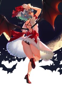 Rating: Questionable Score: 15 Tags: ass dress heels icenight no_bra pantsu pointy_ears remilia_scarlet see_through skirt_lift touhou wings User: Mr_GT