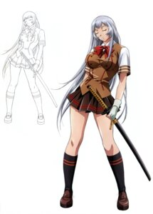 Rating: Questionable Score: 30 Tags: chouun_shiryuu ikkitousen line_art seifuku sword tagme User: Radioactive