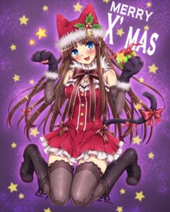 Rating: Safe Score: 48 Tags: animal_ears christmas cleavage dress natsu_natsuna nekomimi tail thighhighs User: Mr_GT