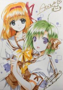 Rating: Safe Score: 13 Tags: autographed fuyou_kaede nishimata_aoi seifuku shigure_asa shuffle suzuhira_hiro User: moonian