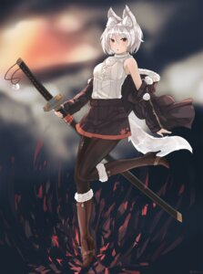 Rating: Safe Score: 33 Tags: animal_ears ehrrr heels inubashiri_momiji pantyhose sword tail touhou User: Mr_GT