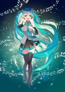 Rating: Safe Score: 16 Tags: breast_hold hatsune_miku headphones piyopoyo skirt_lift thighhighs vocaloid User: charunetra
