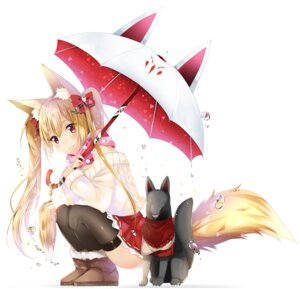 Rating: Questionable Score: 55 Tags: animal_ears duji_amo kitsune nopan sweater tail thighhighs umbrella User: Mr_GT