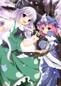 Rating: Safe Score: 13 Tags: jum konpaku_youmu saigyouji_yuyuko sword touhou User: 椎名深夏