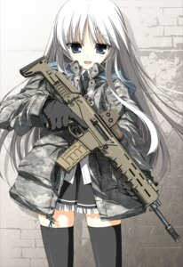 Rating: Safe Score: 64 Tags: gun jormungand jpeg_artifacts koko_hekmatyar suzuri tennenseki thighhighs User: 椎名深夏