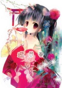 Rating: Safe Score: 24 Tags: cleavage kimono mizushima_sorahiko no_bra sake User: fireattack