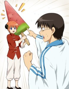 Rating: Safe Score: 8 Tags: gintama kagura punchiki shimura_shinpachi User: tamashii_kun