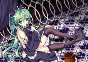Rating: Questionable Score: 51 Tags: brunhilde dress hatsune_miku headphones no_bra stockings thighhighs vocaloid User: blooregardo